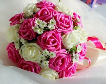 Fuchsia Ivory Wedding Bouquet, Fuschia Hot Pink Flowers Bridal Bouquet,  Wedding Centerpieces, Decorations,Silk Ribbon Fake Flower Bouquets