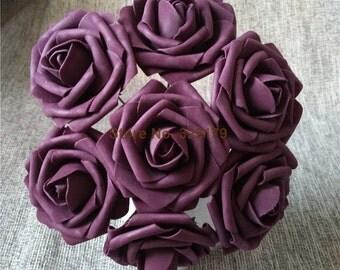 Artificial Violet Flowers Fake Roses Purple Violet Flowers For Wedding Table Centerpiece Bridal Bouquet Flowers Wedding Decor LNPE012