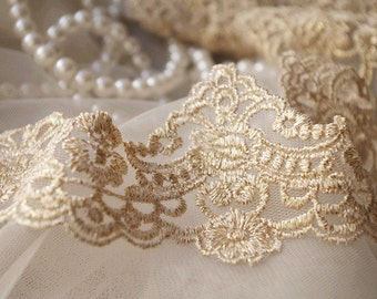 gold scalloped lace trim by the yard