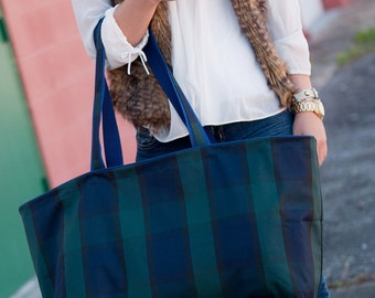 Navy Plaid Ultimate Tote, Beach Bag. Shopping Tote. Storage Tote. Great Gift. Large size for books, teacher supplies.  Free Monogram!