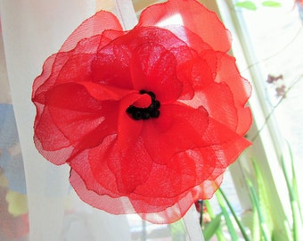 Priority mail, USA 1-4 days, Beautiful Red Chiffon Poppy Bobby Pin, Wedding, Maid of Honor
