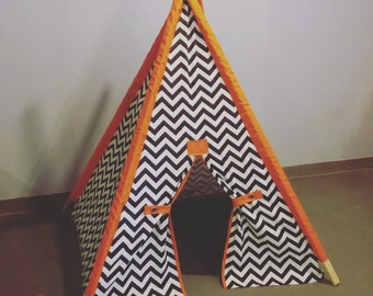 "Navy and orange Play Tent Childrens Teepee Chevron Tent 44"" base size with orange accents Kids Teepee Play Fort  Play Teepee The teepee guy"
