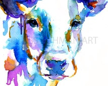 Cow Watercolor Print, Animal Watercolor, Cow Painting, Print of Cow ...