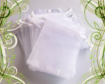 25 Organza Bags ( 2.5 x 3 in ) .. White Organza Bags /  Small White Organza Bags, Gifts, Drawstring, Pouch, Jewelry, Favor Bags