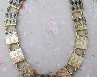 Vintage Gold Tone Metal Bracelet with Pads C193/194