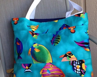 Fish Large tote/beach /Diaper every day /overnight bag Cotton