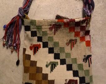 Vintage Peru Peruvian 100% Wool Handmade Extra Large Purse Tote Messenger Bag Bohemian