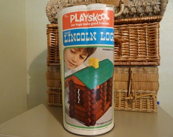 Lincoln logs in original cardboard tin by PlaySkool 1974