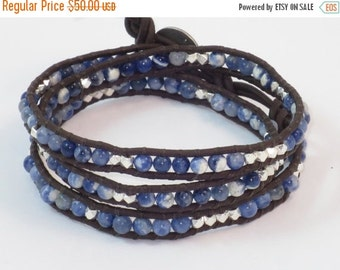 ON SALE Handmade Sodalite Gemstone and Sterling Silver Nugget Leather Wrap Bracelet