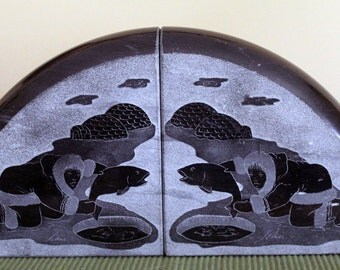 Handcarved Canadian Soapstone Inuit Fishermen Bookends