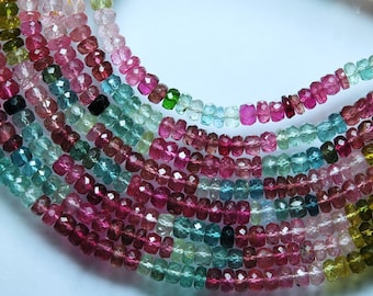 AAA Blue Mixed, 3 x 16 Inches Long-Super-FINEST-  Multi Tourmaline Faceted Rondelles Large 4-4.5mm full 16 inches strand