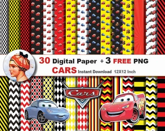 30x  Disney Cars digital paper + 3 FREE png Digital clipart - paper patterns, Scrapbooking Paper, Instant Download (No. 53