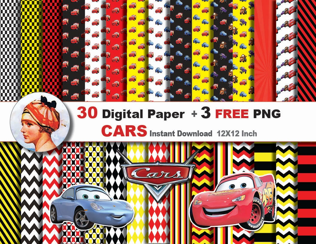 mcqueen invitation 30x disney cars digital paper 3 png digital clipart paper patterns scrapbooking paper instant no 53