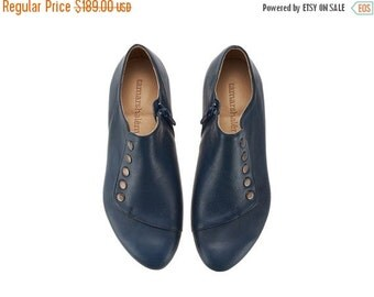 WINTER SALE Navy shoes, Grace, handmade, blue flats, leather shoes, by Tamar Shalem on etsy
