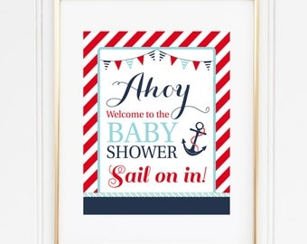 Ahoy Welcome Sign, Nautical Baby Shower Decor, Ahoy It's A Boy Shower, Anchor Welcome Sign, INSTANT DOWNLOAD, Red and Blue, #N1