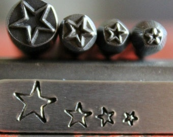 Star Design 4 Stamp Combination Set - Four Different Sizes:  3mm, 4mm 5mm and 7mm - SG-375-54C-9F-29-NJ5