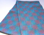 Turquoise Cotton and Linen Handwoven Towel, Abstract Pattern Kitchen Towel