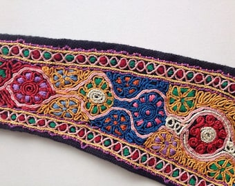 Vintage MASKIT Traditional Local Israeli Hand Made Rich Embroidery Belt \ Spectacular Hand Embroidered Textile