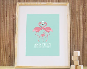 And Then There Were Three Pink Flamingo Family Kids Playroom Wall Decor Childrens Nursery Wall Art