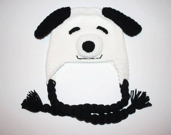 Crocheted Snoopy inspired Hat/ Boys winter hat / Peanuts Hat/ Winter hat/ Boys hat