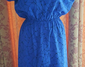 1980s Vintage Electric blue and Black Ruffle dress (4458)
