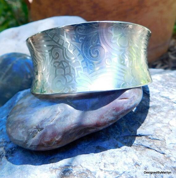 Beautiful sterling silver print bracelet, sterling silver fine floral print bracelet, wide cuff bracelet, fashion wear