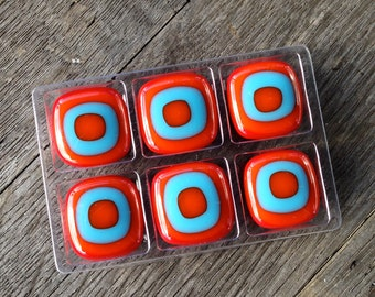 Magnet Set, Unique Fused Glass, Magnets, Unique Magnets, Small Gift, Stocking Stuffer, Hostess Gift, Handmade Gift, Made in Oregon