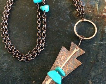 Long Turquoise and Copper Arrowhead Necklace - Copper Anniversary Gift - Boho Copper Necklace - Copper Arrowhead Necklace - Free Shipping