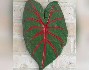 Caladium Leaf Wall Hanging - Red Blaze - Cement Leaf Casting