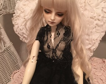 Antique Black Silk and Lace BJD Doll Dress
