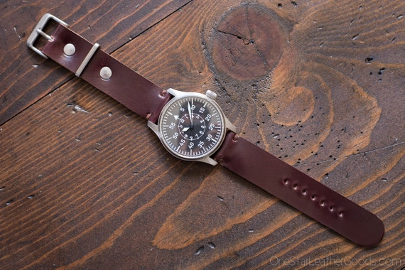 Horween shell cordovan two piece watch band - burgundy #8
