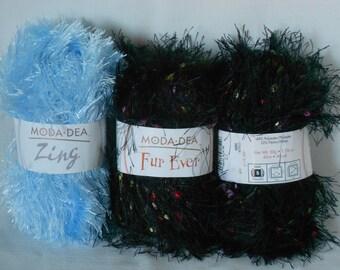 3 skeins of fun fur by moda dea