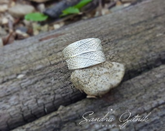 Sage leaf textured ring, Fine silver ring, OOAK silver jewelry, Silver leaf ring, Boho silver ring, everyday ring, sage leaf ring