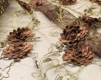 Elegant Brown Embroidered Lace With Flower Sequins With Scalloped Edge Embroidered Lace Fabric- 1 Yard Style 2868