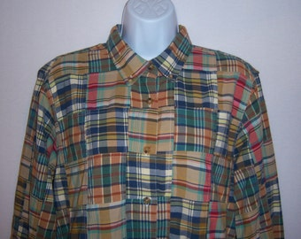 Vintage Orvis Indian Madras Plaid Cotton Patchwork Button Down Shirt 12 14 Large Khaki Teal Red Yellow