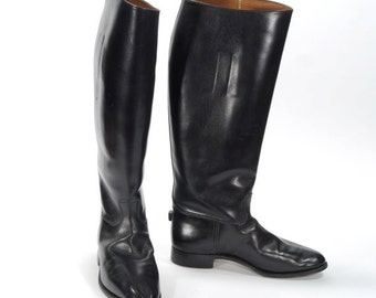 Vintage 1960's Girls EQUESTRIAN Tall Black Leather Riding Boots / Horse Dressage / Leather Riding Boots