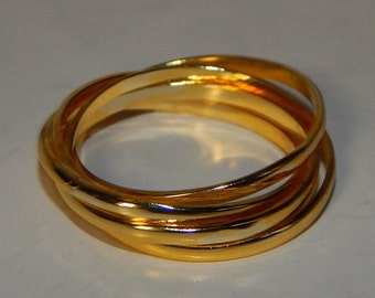 Gold over Sterling Puzzle 3-ring Wedding Ring BAND Plain, Size 11