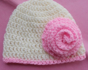 Cream baby girl cloche hat with pink rose, cream and pink, baby hat, crochet baby hat, baby hat with flower, photo prop