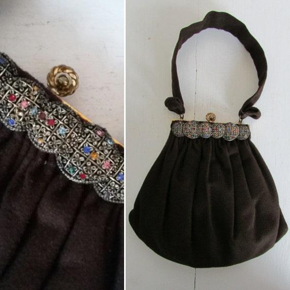 Retro Handbags, Purses, Wallets, Bags 1940s handbag | vintage 40s handbag | felted brown handbag | 1940s brown felted handbag | The Guilded Handbag $56.00 AT vintagedancer.com