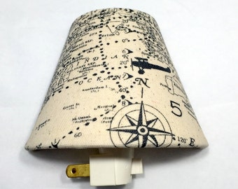 Maps and Planes Night Light / House Warming / Gift Idea / Bedroom / Plug In Night Light / Home Decor / Airplane / Compass / Vintage Map
