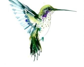 Flying Hummingbird olive green watercolor art, 12 X 9 in