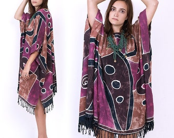 90's Abstract Ethnic Tribal Print FRINGE Oversized Rayon Caftan Kaftan Hippie Boho Festival Mini Dress