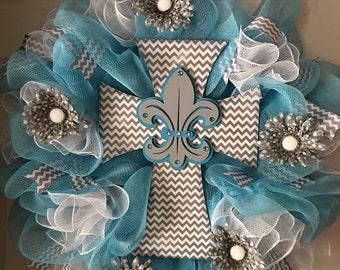 SALE....WAS 89.00/NOW 79.00...Turquoise..Gray..Chevron Cross with Fleur de lis Deco Mesh Wreath...Summer Wreath