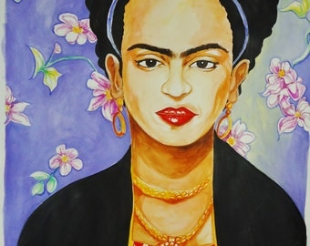 A Frida Kahlo Portrait -Watercolor Unframed 24 x 30