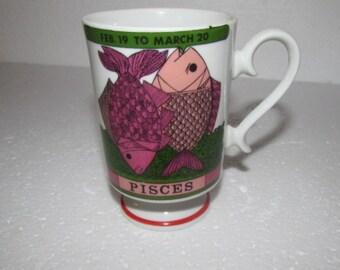 ARNART, ZODIAC , Smug Mug  By Elena,  Pisces , Limited Edition, Pedestal Irish,  Ceramic, Coffee Mug, Fish
