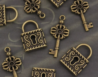 5 Set Antique Brass Lock & Key Charms Vintage Style Double Sized