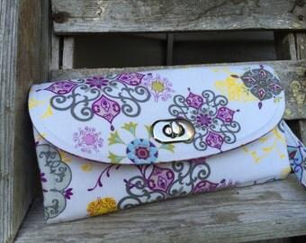 Purple Flowers  Wallet, Purple Paisley Wallet, Purple Wallet, Purple NCW Wallet,  Paiesley Emmaline Wallet - Ready To Ship