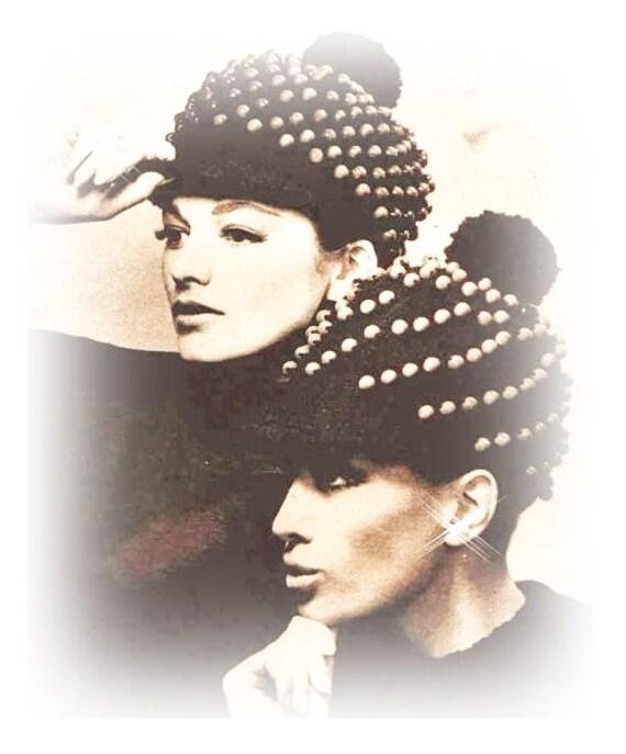 Crochet Hat Patterns With Beads : Crochet NewsBoy Pattern Beaded Hat Beanie 70s Brim Hat PDF