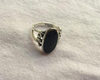 Sterling Black Ring Sz. 7