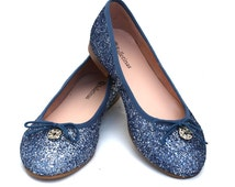 Glitter ballerinas shoes Iona, Navy blue glitter, flat shoes, confortable, soft, woman shoes, wedding shoes, Bridal shoes, Ceremony shoes.